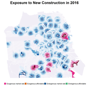 This map shows the locations of new construction in San Francisco in 2016.